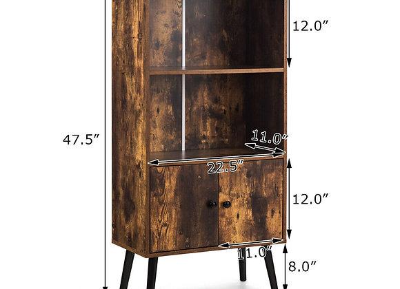 Gymax 2-Tier Retro Bookcase Bookshelf w/3 Compartment&2 Doors Industrial Cabinet