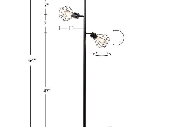 Brightech Robin Industrial Rustic Pole Tree Floor Lamp w/ 3 Vintage Edison Bulbs