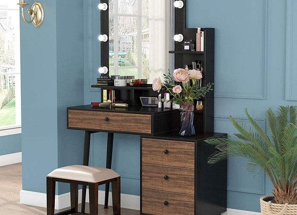Tribesigns Makeup Vanity Table with Lighted Mirror, Vintage Makeup Dressing Tab