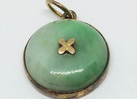 Chinese Antique Jadeite Pendant with 14K Gold , Made in Early 20th Century