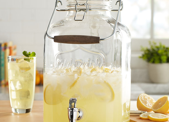 Better Homes & Gardens 2 Gallon Glass Beverage Dispenser with Glass Clamp Lid