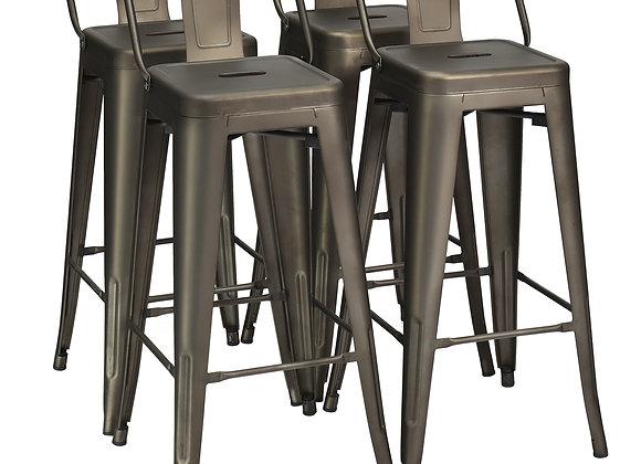 Costway Set of 4 Metal Bar Stools 30'' Bar Height Barstools Industrial W/ Low B