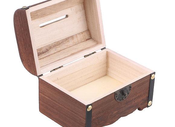 OUNONA Vintage Treasure Storage Box Piggy Bank Organizer Saving Box Case with L
