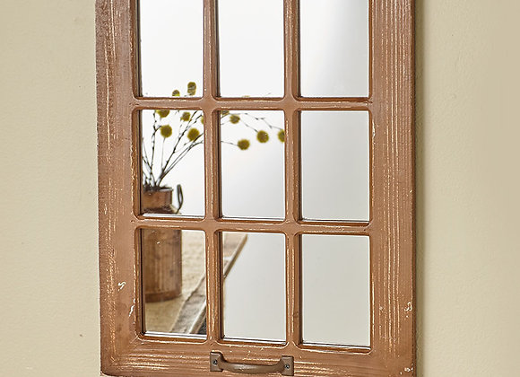 Distressed Wood Windowpane Mirrors