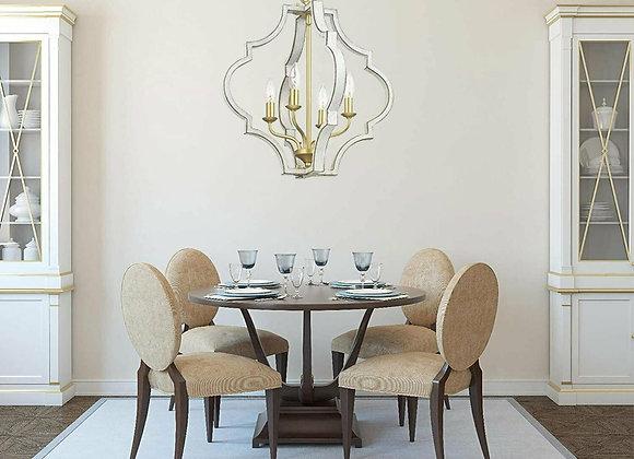 Teigen Antique White and Vintage Gold Geometric Pendant Light