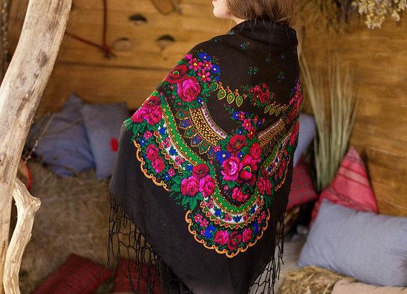 Big BLACK Folk SCARF Ukrainian Russian Shawl Floral Shawl, Ethnic Shawl W