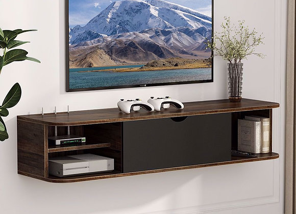 Tribesigns Rustic Wall Mounted Media Console with Door, Floating TV Shelf TV St