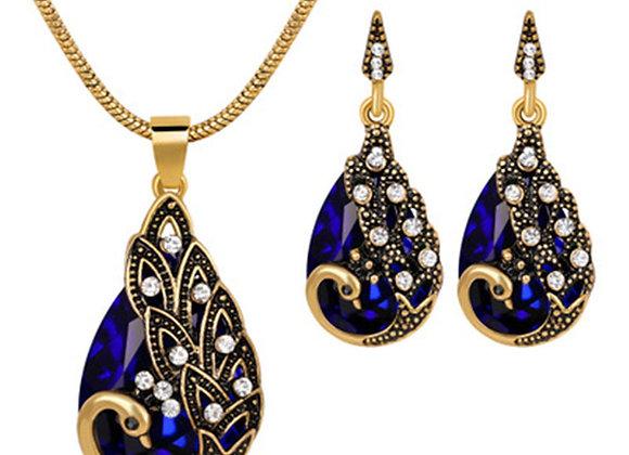 snorda Women's Peacock Pendant Earring Necklace Vintage Wedding Jewellery Set