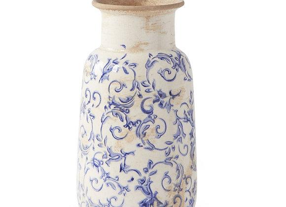 10 Inch Vintage Blue and White Ceramic Vase, Distressed Rustic Elegant Weathere