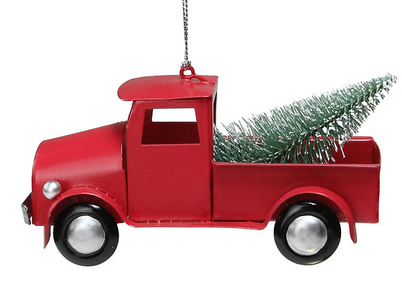 """5"""" Red Vintage Truck with Frosted Tree Christmas Ornament"""