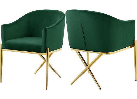 """Meridian Furniture Xavier 19.5""""H Velvet Dining Chair in Green"""