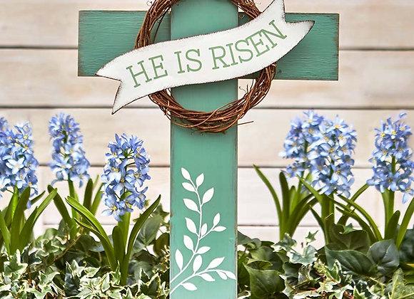 He Is Risen Cross Stake