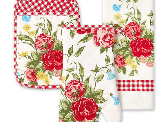 The Pioneer Woman Sweet Rose Kitchen Towel, Oven Mitt, and Pot Holder Set, , Mu