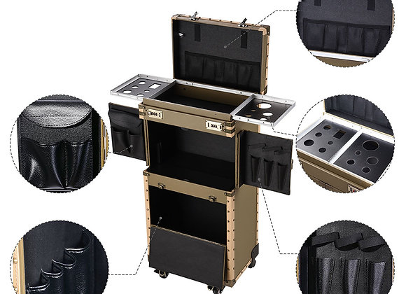 AW Vintage Rolling Makeup Case with 360 Degree 4-Wheels Code Keys Lockable Hair