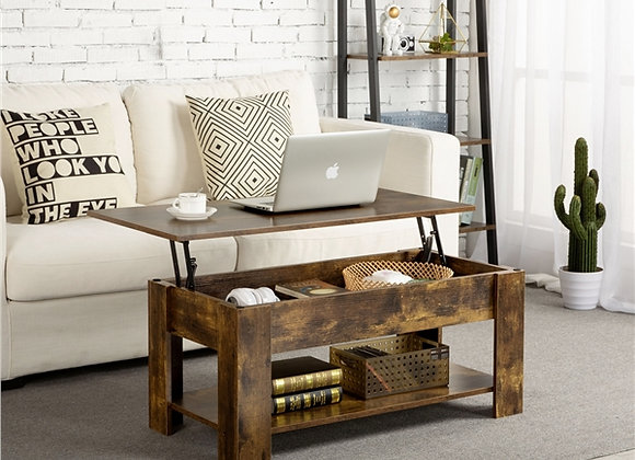 Yaheetech Lift Top Coffee Table w/Hidden Compartment and Open Storage Shelf, Vi