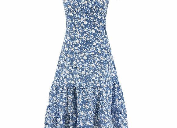 Cathery Women Vintage Floral Dress Ladies Summer Beach Short Sleeve Casual Midi