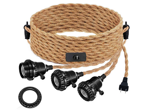 Triple Pendant Light Cord Kit with Independent Switch, Plug in Hemp Rope Vintag