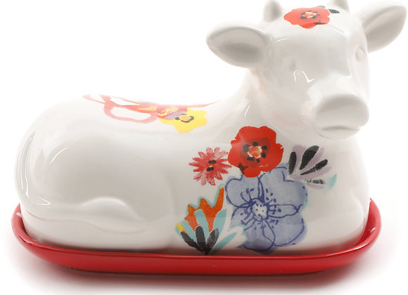 """The Pioneer Woman Flea Market Decorated 6.5"""" Cow Butter Dish"""