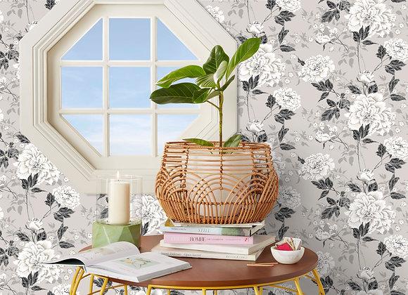 Vintage Floral Gray Peel & Stick Wallpaper by Drew Barrymore Flower Home