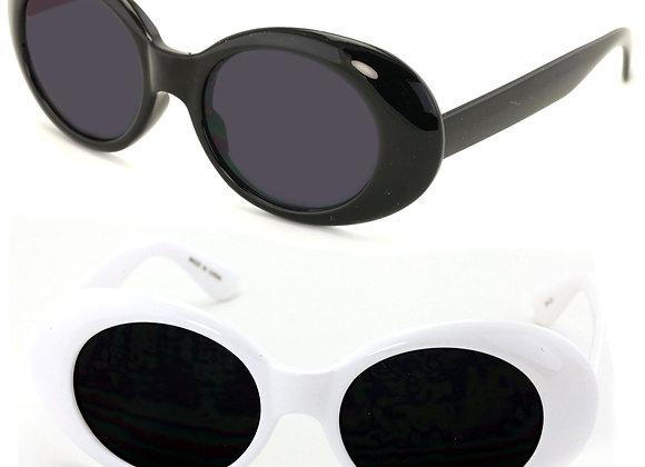 2 Pairs Vintage Sunglasses UV400 Bold Retro Oval Mod Thick Frame Sunglasses Clo