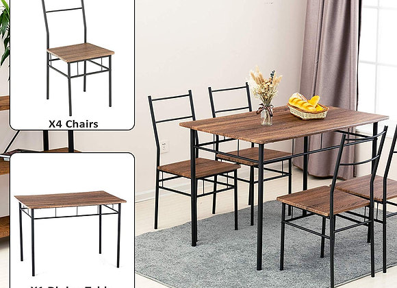 mecor 5 Piece Dining Table Set, Vintage Wood Tabletop Kitchen Table w/ 4 Chairs