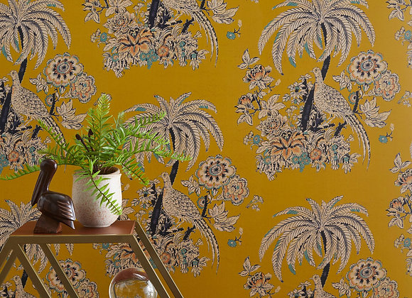 Tropical Toile Peel and Stick Wallpaper by Drew Barrymore Flower Home, Yellow