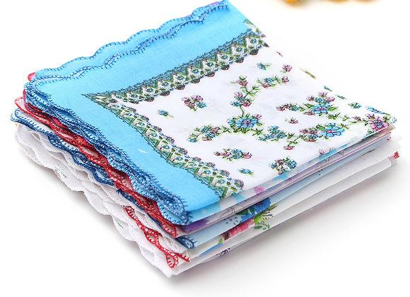 10-40Pcs Handkerchief Cotton Vintage Ladies Women Pocket Floral Flowers Quadrat