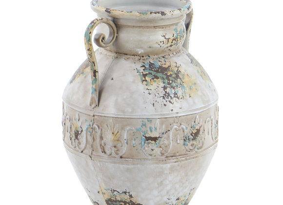 Stella & Eve Vintage Style Distressed White Metal Amphora Vase with Embossed Ac
