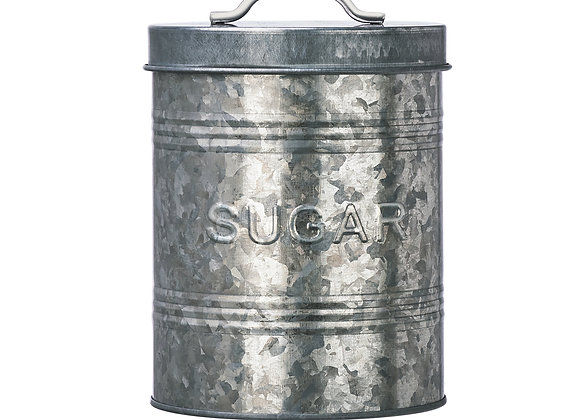 Rustic Kitchen Galvanized Metal Sugar Storage Canister, 76 oz