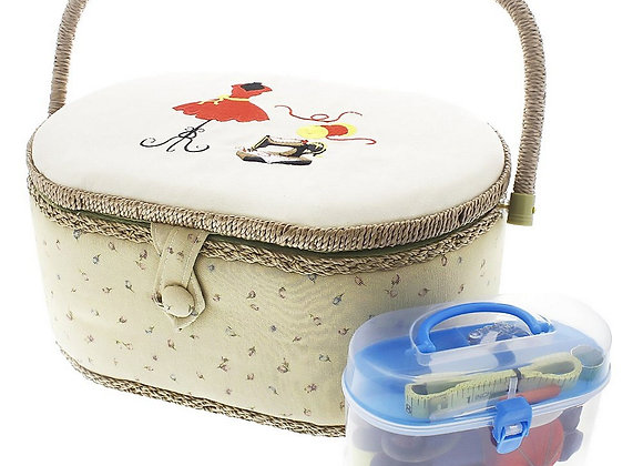 Vintage Sewing Basket Organizer Box Kit with Hand Sewing Supplies and Notions,