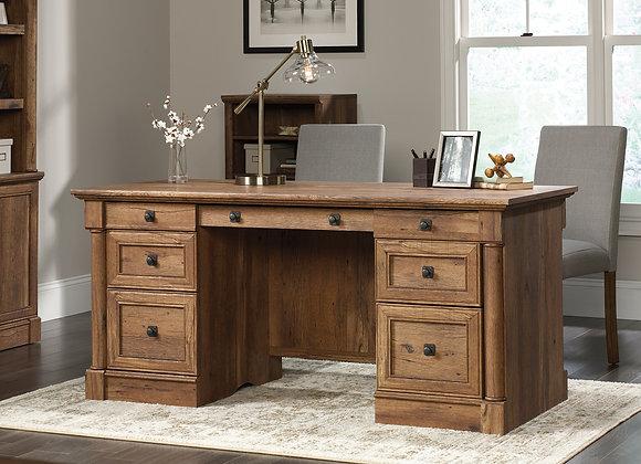 Sauder Palladia Traditional Executive Desk, Vintage Oak Finish