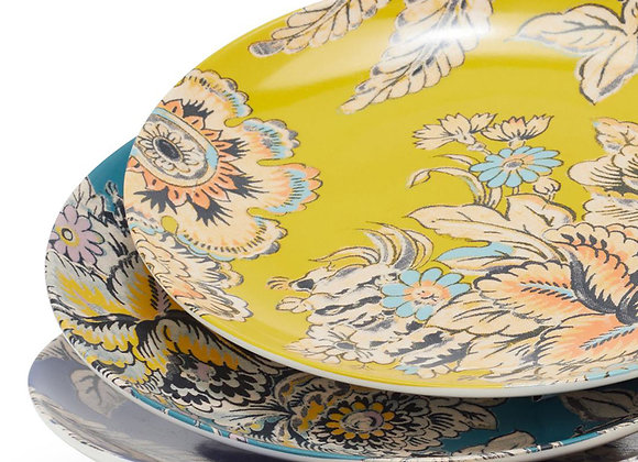 Tropical Toile Floral Mix and Match 4 Piece Appetizer Plate Set by Drew Barrymo