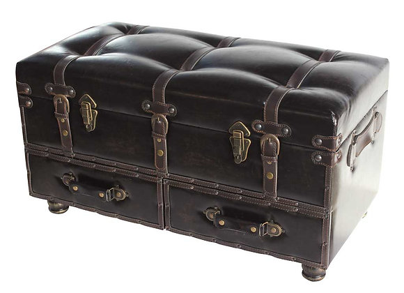 River of Goods Braxton Faux Leather Storage Trunk