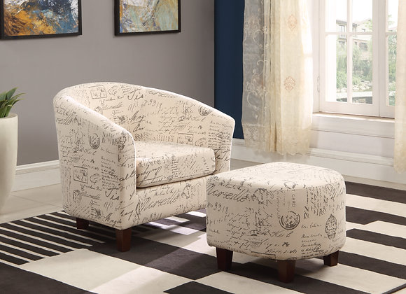 Vintage Scripted Tub Chair with Ottoman