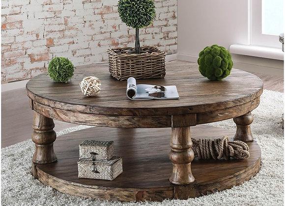 Furniture of America Joss Rustic Round Wood Coffee Table in Oak