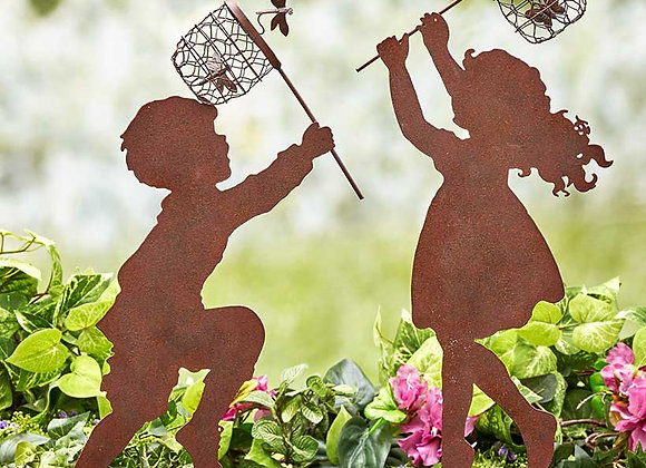 Children Chasing Yard Stakes