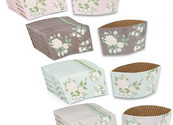 100-Pack Vintage Floral Corrugated Paper Coffee Tea Cup Sleeves in Bulk, 4 Colo