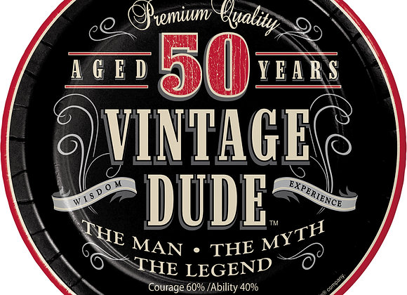 Vintage Dude 50th Birthday Round Paper Dessert Plates 24 Count for 24 Guests