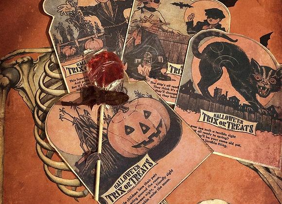 Four Halloween Trick or Treat Candy Card Holders Orange Black Cat Pumpkin Scare