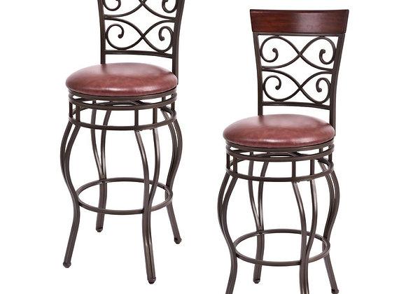 Costway Set of 2 Vintage Bar Stools Swivel Padded Seat Bistro Dining Kitchen Pu