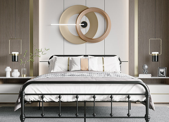 Jaxpety Metal Platform Bed, Bed Frame with Steel Slat Support, No Box Spring, V
