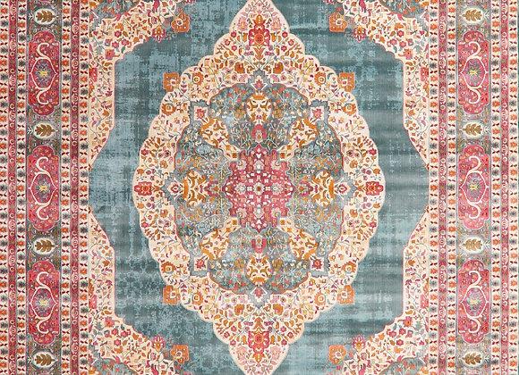 Floral Distressed Turkish Vintage Style Oriental Area Rug Blue Carpet 8 x 10