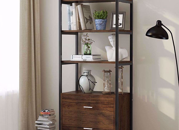 Tribesigns Bookcase with 2 Drawers, Vintage Industrial Etagere Standard Bookshe