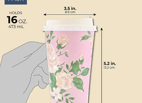 48 Pack Vintage Floral Paper Insulated Coffee Cups with Lids, 4 Designs, 16 Oun