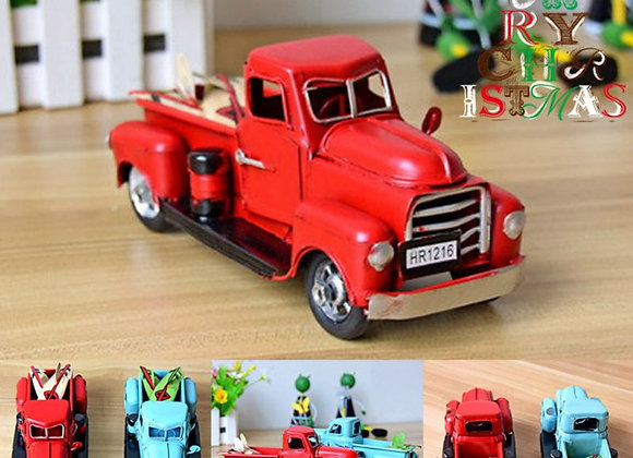 Metal Truck Christmas Ornament Kids Gifts Car Toy Xmas Table Top Decoration