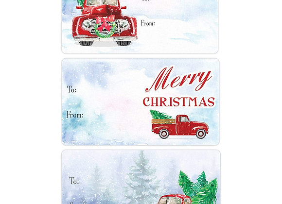 Vintage Red Truck Christmas Gift Tags - 75 Stickers - Winter - Distinctivs