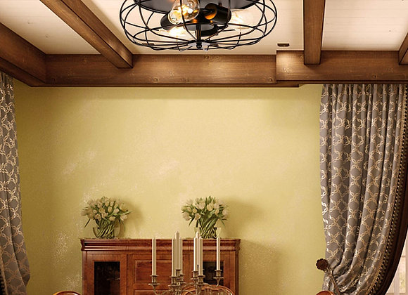 "15.74"" Metal Ceiling Light Cage Flush Mount Industrial Vintage Style 3-Light Ru"