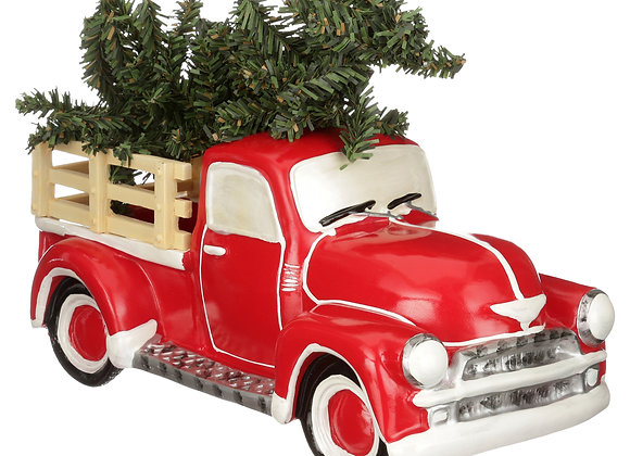 Holiday Time Antique Red Truck with Christmas Tree Table Top Christmas Decorati