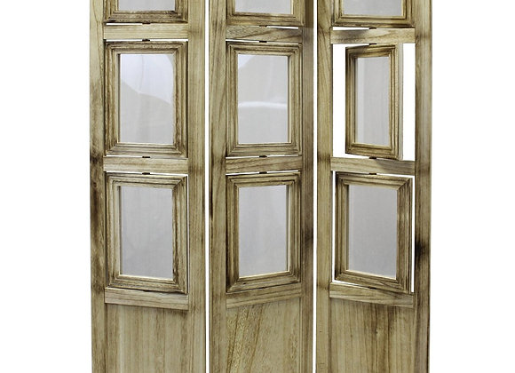 3-panel Folding Photo Screen/Room Divider in natural oiled vintage finish