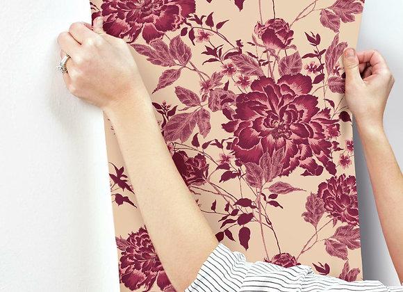 Vintage Floral Red Peel & Stick Wallpaper by Drew Barrymore Flower Home